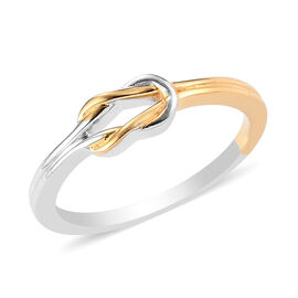 Yellow Gold and Platinum Overlay Sterling Silver Knot Band Ring