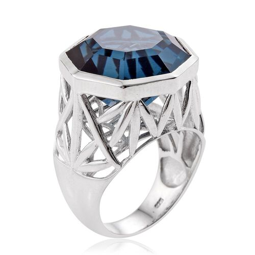 Indicolite Quartz (Octillion) Ring in Platinum Overlay Sterling Silver 16.000 Ct. Silver wt 7.60 Gms.