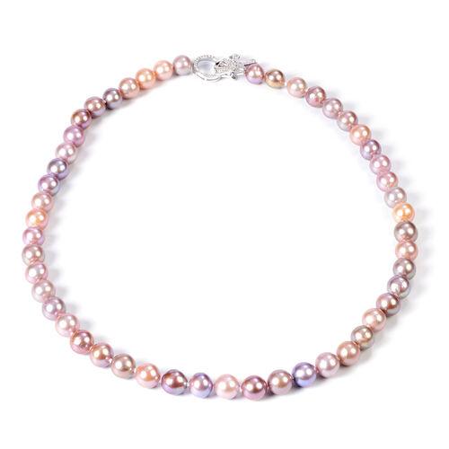 Multi Colour Edison Pearl and Natural Cambodian Zircon Necklace (Size 20)  in Rhodium Overlay Sterli