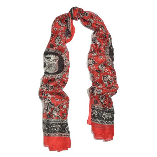100% Mulberry Silk Red, Black and White Colour Handscreen Elephant and Paisley Printed Scarf (Size 200X180 Cm)
