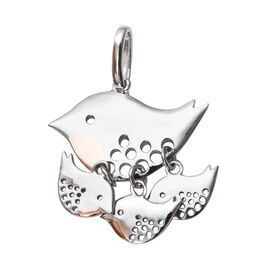 Rose Gold and Platinum Overlay Sterling Silver Bird Family Pendant