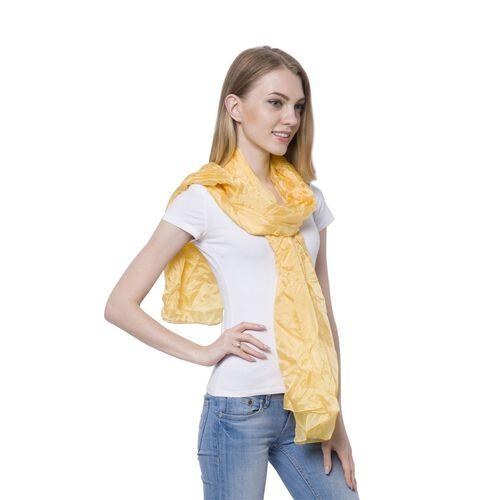 New Season-100% Mulberry Silk Pantone Primrose Yellow Colour Scarf (Size 180x110 Cm)