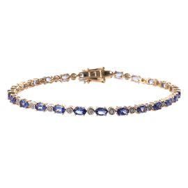 9K Yellow Gold  Tanzanite (Ovl 5x3 mm), Diamond Bracelet (Size 8) 6.15 Ct, Gold wt 7.15 Gms