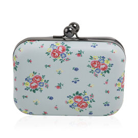 Floral Pattern Evie Clutch Bag with Chain - Blue Colour
