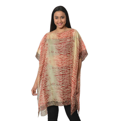 100% Mulberry Silk Kaftan One Size (90x100 Cm) - Wine Red and Beige