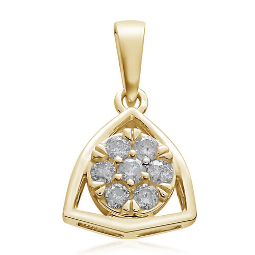9K Yellow Gold 0.33 Ct Diamond Floral Pendant SGL Certified (I3/G-H)