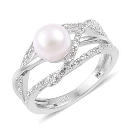 Japanese Akoya Pearl, White Topaz Ring in Platinum Overlay Sterling Silver