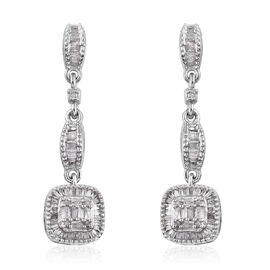 GP Diamond (Bgt and Rnd), Kanchanaburi Blue Sapphire Earrings (with Push Back) in Platinum Overlay Sterling Silver 0.560 Ct.