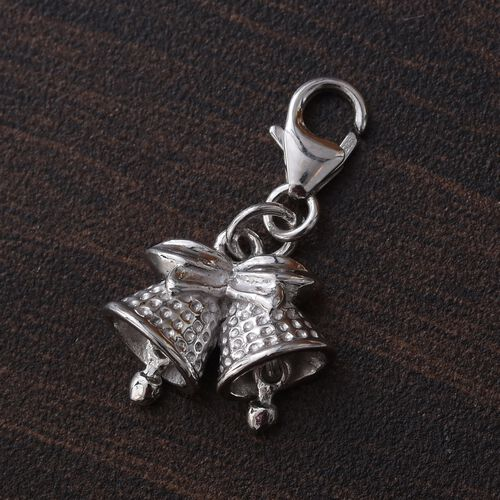 Bow Bells Charm in Platinum Plated 925 Sterling Silver