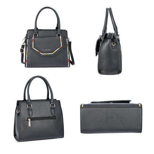 LOCK SOUL Black Colour Multiple Pocket Handbag with Zipper Closure and Detachable Shoulder Strap (Size 28x13x23 Cm)
