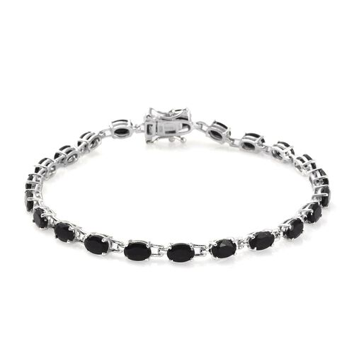 Monster Deal - Black Tourmaline Bracelet (Size 8) in Platinum Over Sterling Silver 9.00 Ct, Silver w