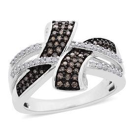 Natural Champagne Diamond (Rnd), White Diamond Crossover Ring in Platinum and Black Rhodium Overlay