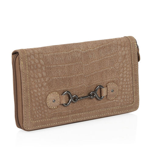 Design Look Horsebit Logo100% Genuine Leather Cholocate Clutch Wallet with RFID Blocking (Size 19x2.5x10 cm Large phone can fit in )