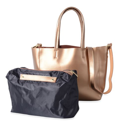 2 Piece Set-100% Genuine Leather Gold Colour Tote Bag (Size 46x32x29x13 Cm) and Pouch (Size 32x23x13