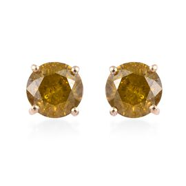 9K Yellow Gold Yellow Diamond (Rnd) Stud Earrings (with Push Back) 1.25 Ct.