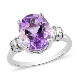 Moroccan Amethyst and Diamond Ring in Platinum Overlay Sterling Silver 3.61 Ct.