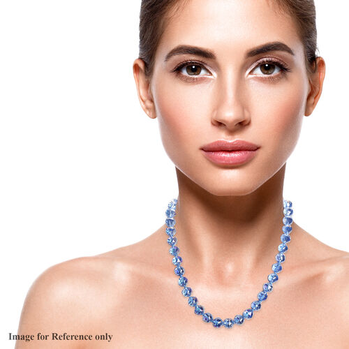Simulated Blue Crystal Beaded Neckalce with Magnetic Lock in Stainless Steel