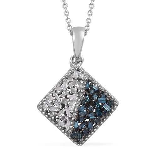 Blue and White Diamond (Rnd and Bgt) Pendant With Chain (Size 20) in Platinum Overlay with Blue Plat
