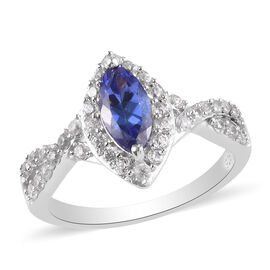 Tanzanite and Natural Cambodian Zircon Ring in Platinum Overlay Sterling Silver 1.41 Ct.