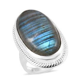 25 Carat Labradorite Solitaire Ring in Silver 10.76 Grams