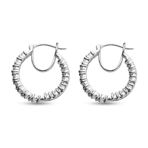 One Time Deal - Simulated White Colour Diamond Hoop Earrings in Platinum Plated
