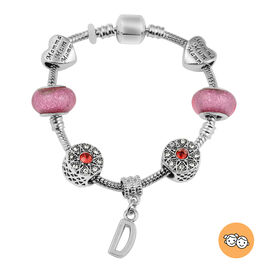 D Initial Charm Bracelet for Children in Simulated Pink Colour Bead, Red and White Austrian Crystal