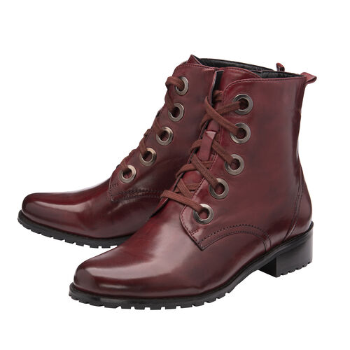 Ravel Marti Lace-Up Leather Ankle Boots (Size 8) - Burgundy