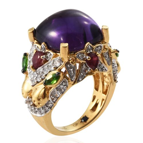 GP Amethyst (Cush 9.85 Ct), Russian Diopside, Natural Cambodian Zircon and Kanchanaburi Blue Sapphire Ring in 14K Gold Overlay Sterling Silver 12.250 Ct. Silver wt 7.66 Gms.