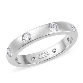 RHAPSODY 950 Platinum IGI Certified Diamond (VS/E-F) Band Ring 0.50 Ct, Platinum wt 5.73 Gms