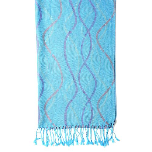 Designer Inspired- Aqua Blue and Multi Colour Scarf with Wave Pattern (Size 180x70 Cm)