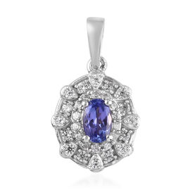 Tanzanite and Natural Cambodian Zircon Pendant in Platinum Overlay Sterling Silver 0.90 Ct.