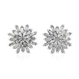 0.34 Ct Diamond Snowflake Cluster Stud Earrings with Push Back Platinum Plated Silver