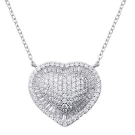 ELANZA Simulated Diamond (Rnd) Heart Necklace (Size 19.75) in Rhodium Overlay Sterling Silver