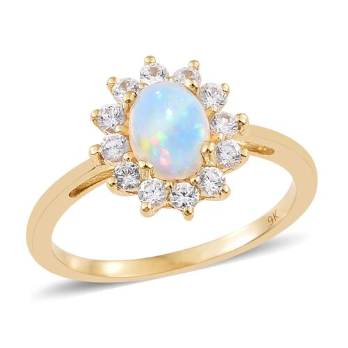 9K Yellow Gold AAA Ethiopian Welo Opal (Ovl 8x6mm), Natural Cambodian Zircon Ring 1.650 Ct.