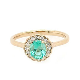 ILIANA 18K Yellow Gold AAA Boyaca Colombian Emerald (Ovl 6.5x5.5mm), Diamond (SI/G-H) Ring 1.01 Ct.