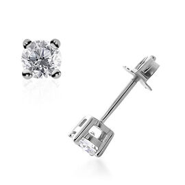 9K White Gold SGL Certified Diamond (Rnd) (I3/G-H) Stud Earrings (with Push Back) 0.250 Ct.