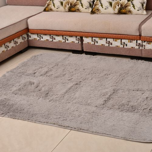 Super-Plush Extra-Long Pile Silver Colour YETI Bed-Side Rug (Size 140x70 Cm)