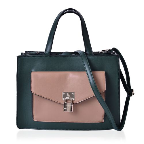 Green and Camel Colour Tote Bag With Adjustable and Removable Shoulder Strap (Size 34.5x24x12.5 Cm)