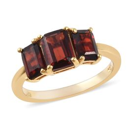 Mozambique Garnet (Oct) Three Stone Ring in 14K Gold Overlay Sterling Silver 2.75 Ct.