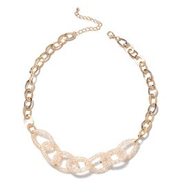 White Austrian Crystal (Rnd) Oval Link Necklace (Size 18 with 3 inch Extender) in Gold Tone