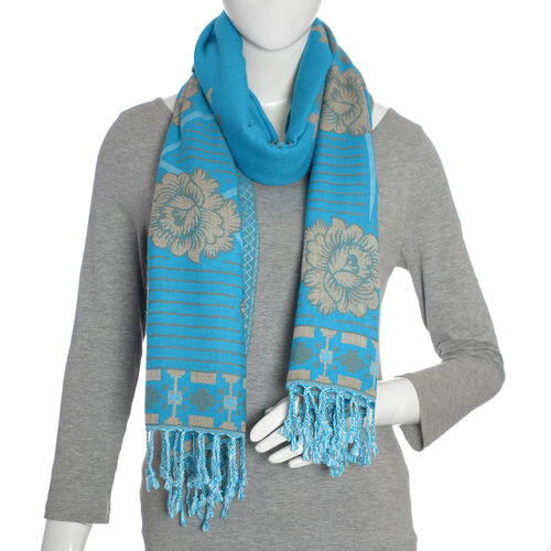 Jacquard Pattern Turquoise and Beige Colour Scarf (Size 200x70 Cm)