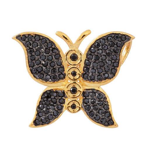 Designer Inspired Boi Ploi Black Spinel (Rnd) Butterfly Pendant in 14K Gold Overlay Sterling Silver 1.000 Ct.No of Stones 94 Pcs Silver wt 3.51 Gms.