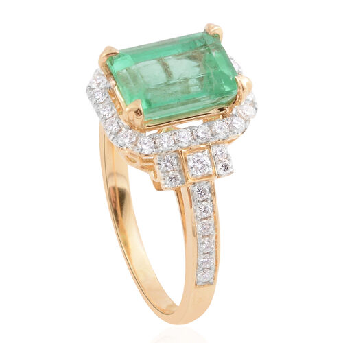 Signature Collection- ILIANA 18K Yellow Gold AAA Boyaca Colombian Emerald (Oct), Diamond (SI/G-H) Ring 2.520 Ct.