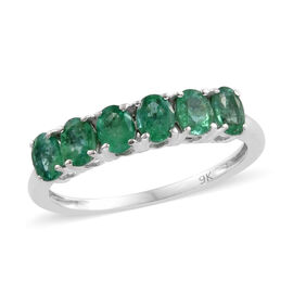9K White Gold AA Kagem Zambian Emerald (Ovl) Ring 0.850 Ct.