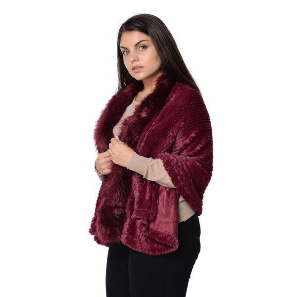 Super Soft Faux Fur Wrap with Pineapple Pattern (Size 152x59 Cm) - Wine