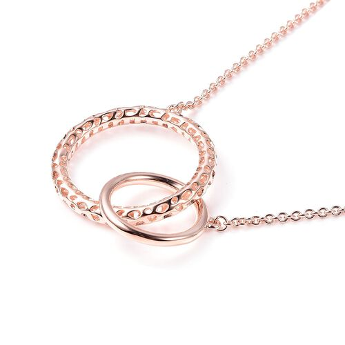 RACHEL GALLEY Allegro Collection - Rose Gold Overlay Sterling Silver Interlocked Necklace (Size 30), Silver wt 12.69 Gms
