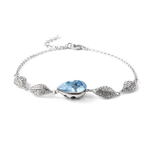 J Francis - Crystal from Swarovski Aquamarine Crystal (Pear), White Swarovski Crystal Leaf Bracelet (Size 7 with 1 inch Extender) in Rhodium Overlay Sterling Silver