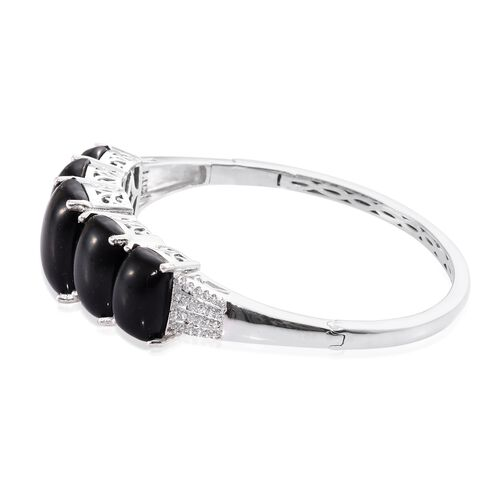 Shungite (Cush 11.25 Ct), Natural Cambodian Zircon Bangle (Size 7.5) in Platinum Overlay Sterling Silver 38.750 Ct. Silver wt 23.20 Gms.