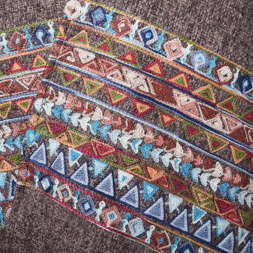 Brown Long-Sleeve Multicolour Embroidered Kimono (Size 72x80cm)