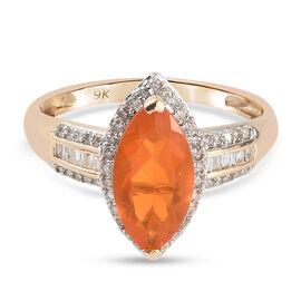 9K Yellow Gold AAA Brazilian Fire Opal and Diamond Ring 1.55 Ct.